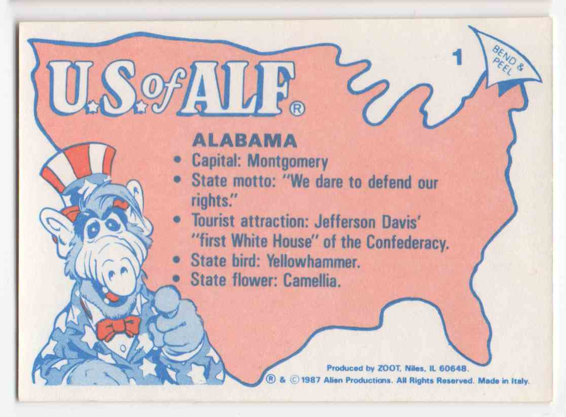 1987 Alf States Stickers Alabama #1 card back image