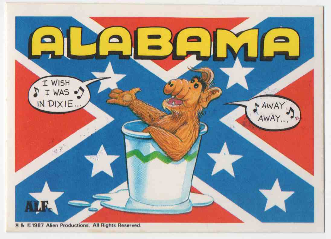 1987 Alf States Stickers Alabama #1 card front image