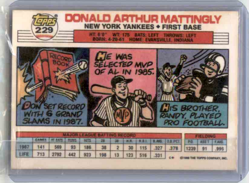 1988 Topps Don Mattingly #229 card back image