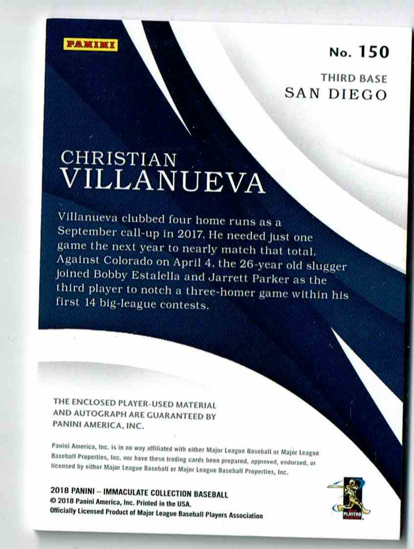 2018 Immaculate Collection Dual Material Christian Villaneuva #23 card back image
