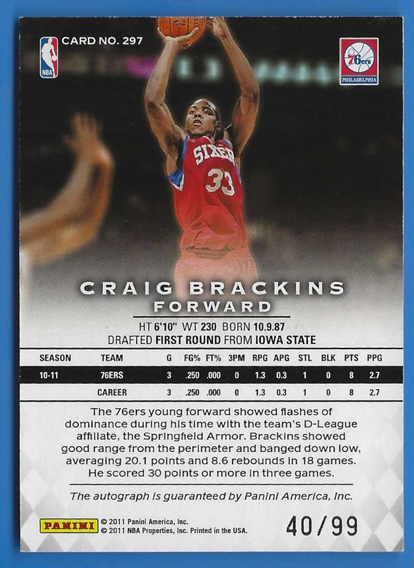 2011-12 Panini Preferred Craig Brackins Ps #297 card back image