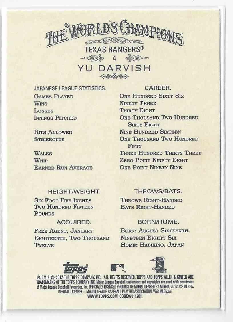 2012 Topps Allen & Ginter Yu Darvish #4 card back image