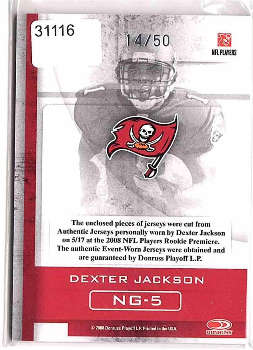 2008 Donruss Gridiron Gear Next Generation Jerseys Dexter Jackson #NG5 card back image