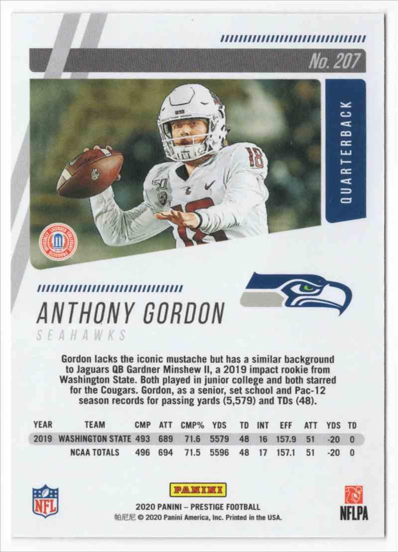 2020 Prestige Xtra Points Blue Anthony Gordon #207 card back image
