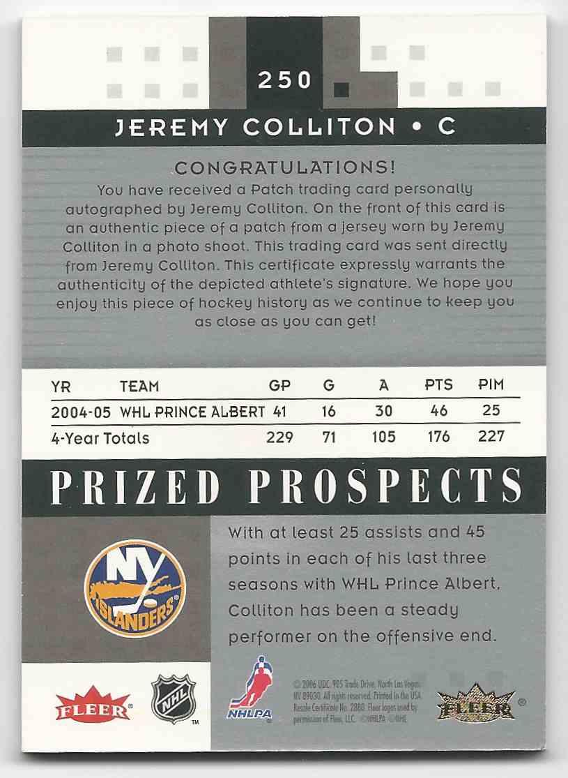 2005-06 Hot Prospects Jeremy Colliton #250 card back image