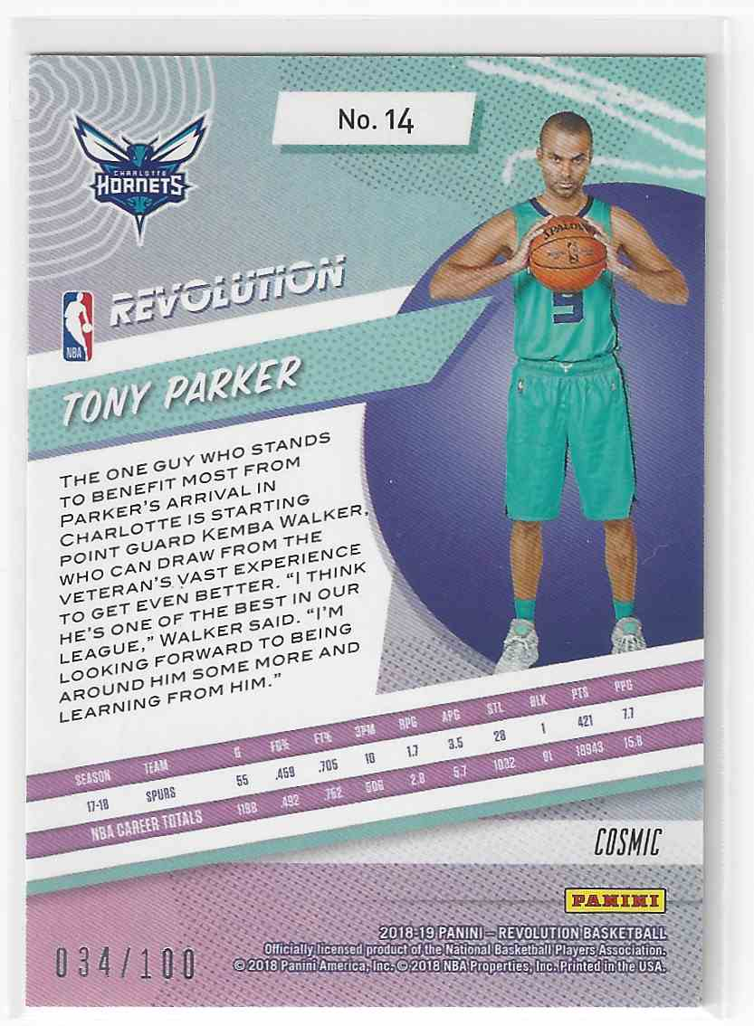 12be8a5c Real card back image 2018-19 Revolution Cosmic Parallel Tony Parker  34/100!! Hornets #14