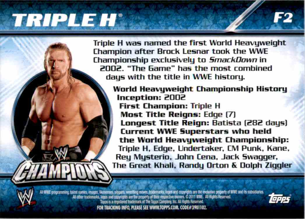 2011 Topps Wwe Champions Foil Triple H #F2 card back image