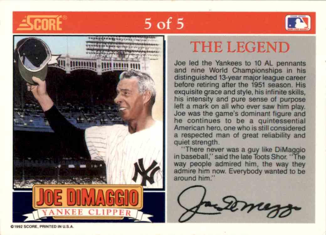 1992 Score #5 Joe DiMaggio New York Yankees Baseball Card