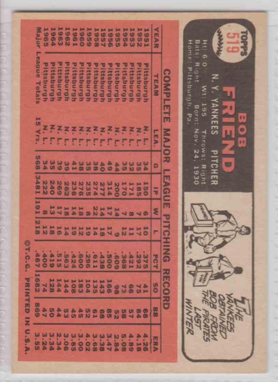 1966 Topps Bob Friend #519 card back image