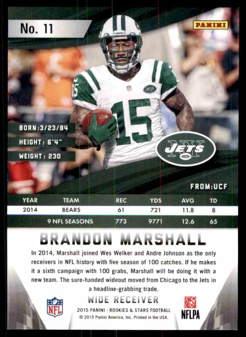 2014 Panini Rookies And Stars Brandon Marshall card back image