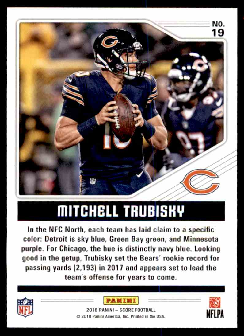 79864e46b Real card back image 2018 Score Color Rush Mitchell Trubisky  19 card back  image