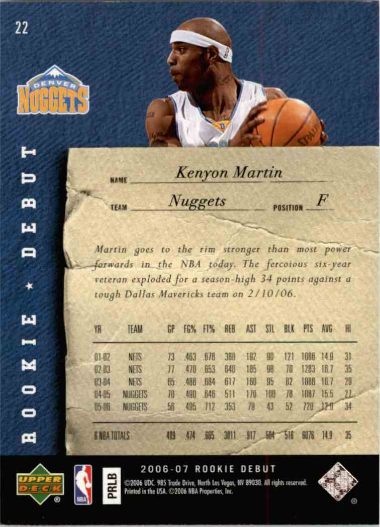 2007-08 Upper Deck Rookie Debut Kenyon Martin #22 card back image