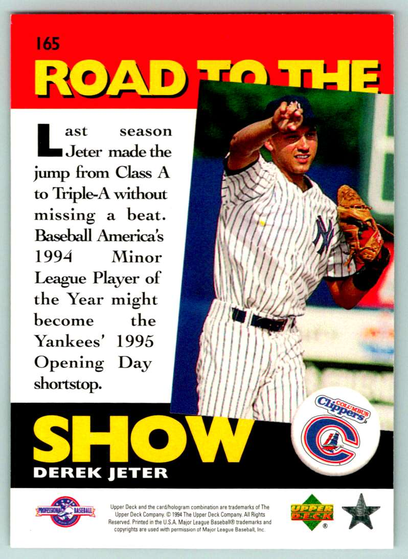 1994 Upper Deck Road To The Show Derek Jeter #165 card back image