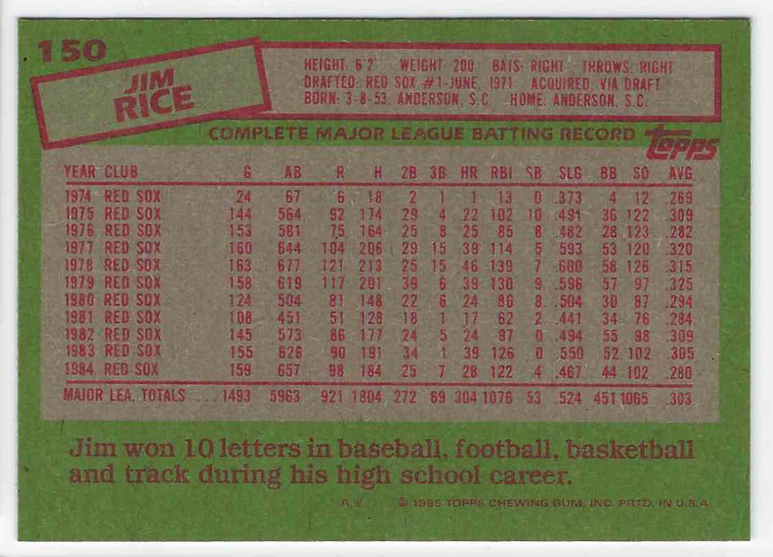 1985 Topps Jim Rice #150 card back image