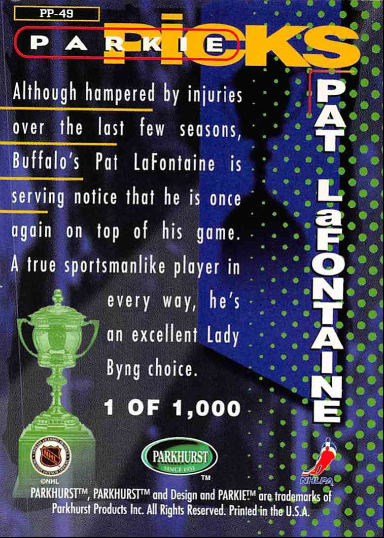 1995-96 Parkhurst International Parkies Trophy Picks Pat LaFontaine #PP49 card back image