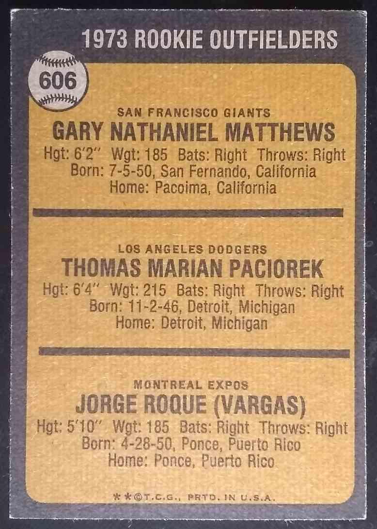 1973 Topps Gary Matthews Tom Paciorek #606 card back image