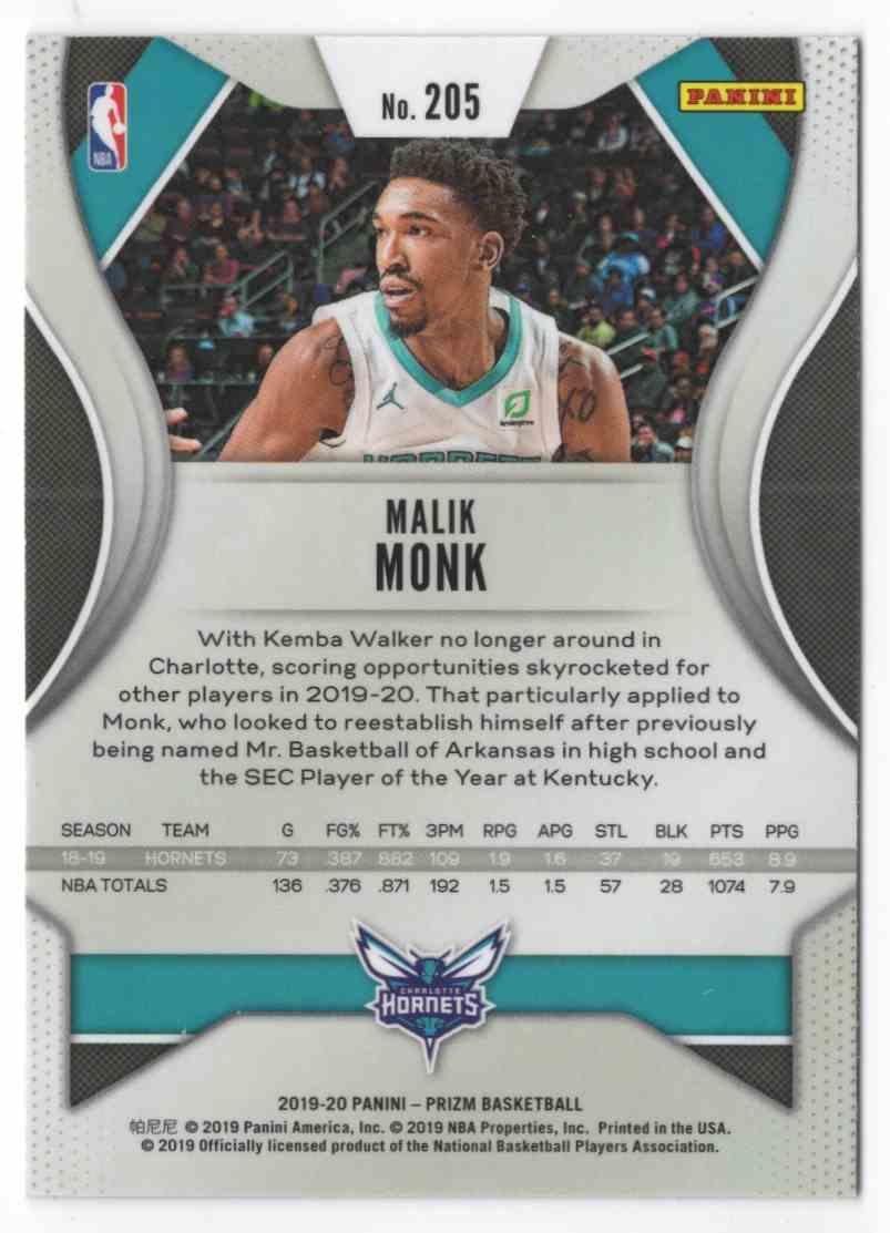 2019-20 Panini Prizm Malik Monk #205 card back image
