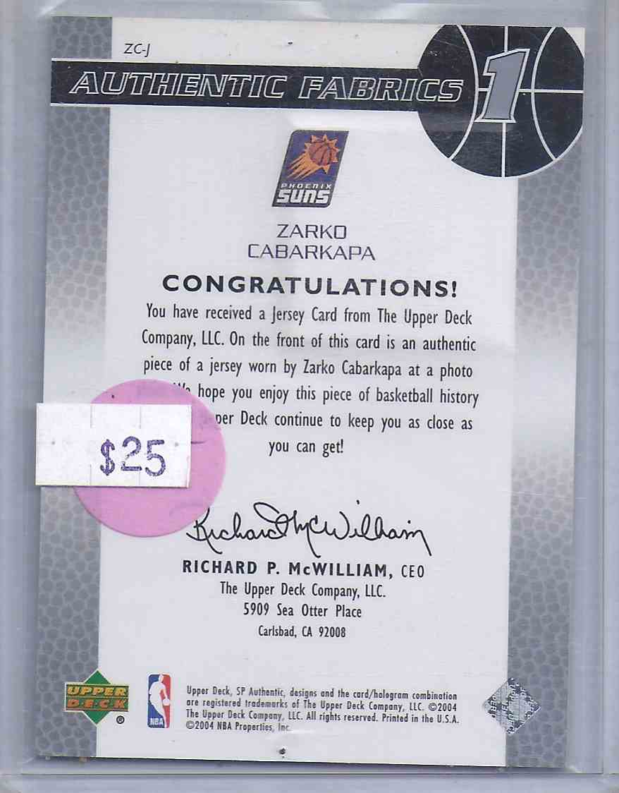 2003-04 SP Authentic Rookie Authentic Fabrics Zarko Cabarkapa #ZCJ card back image