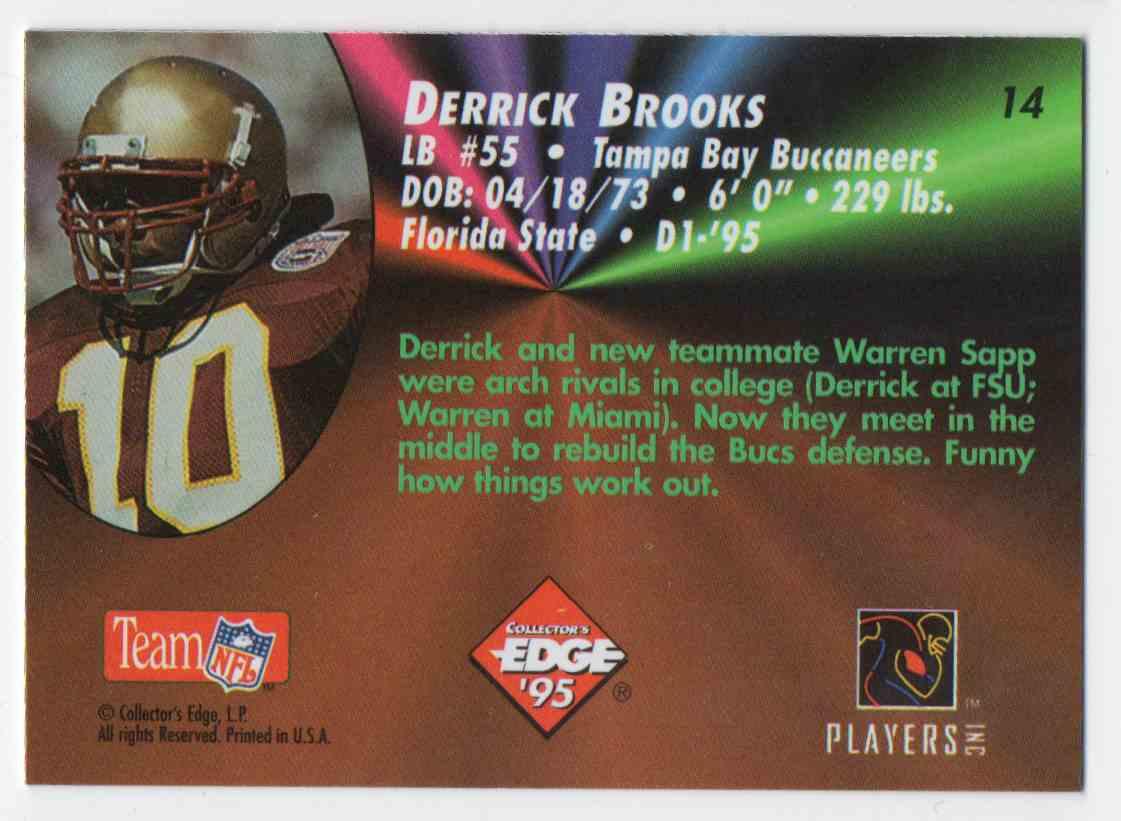 1995 Collectors Edge Black Label Rookies Derrick Brooks #14 card back image