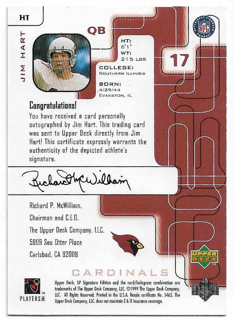 1999 SP Signature Edition Jim Hart #HT card back image