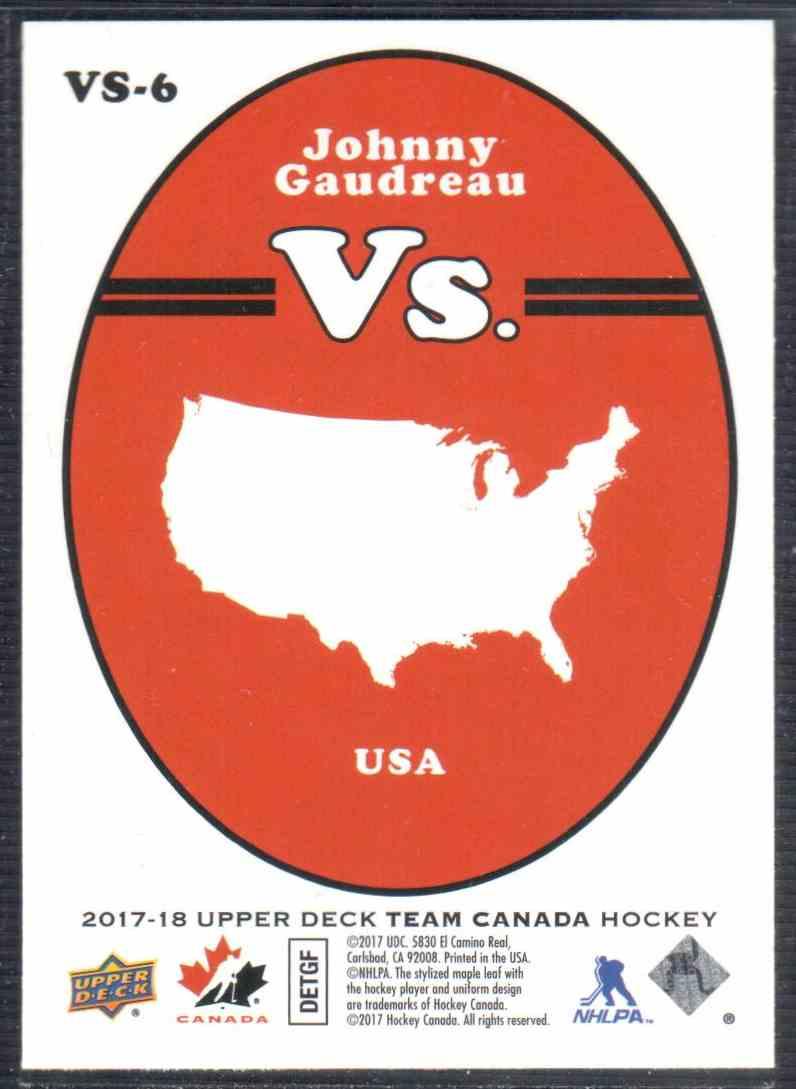 2017-18 Upper Deck Team Canada Canadian Tire Vs. Johnny Gaudreau #VS-6 card back image