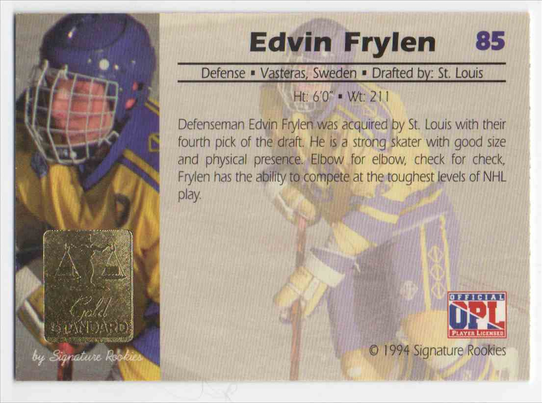 1994-95 Signature Rookies Gold Standard Edvin Frylen #85 card back image