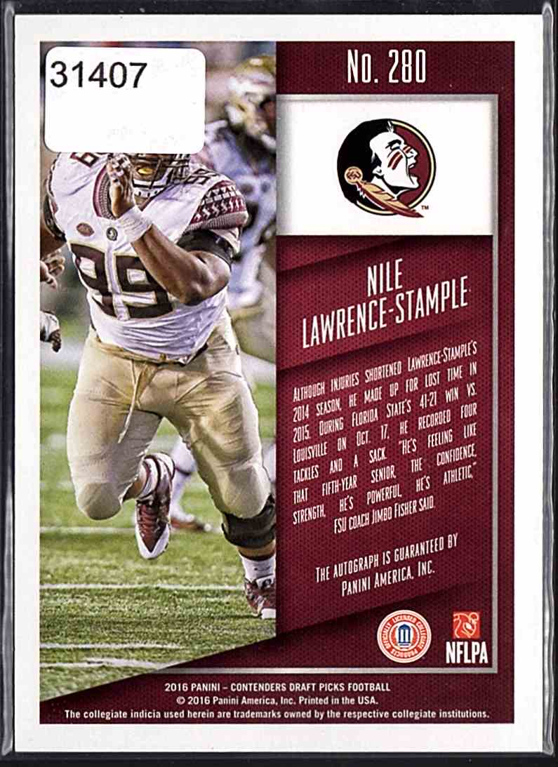 2016 Panini Contenders Draft Picks Nile Lawrence-Stample #280 card back image