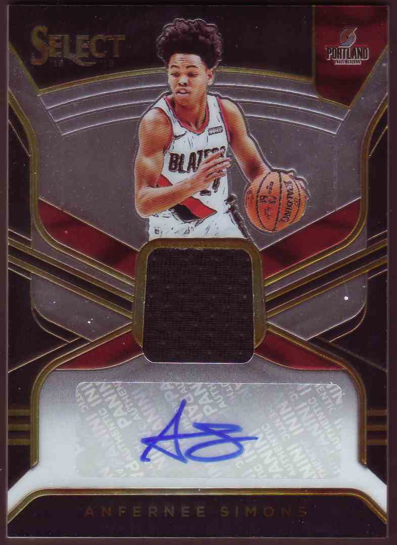 2018-19 Panini Select Rookie Jersey Autographs Anfernee Simons #RJA-ASM card front image