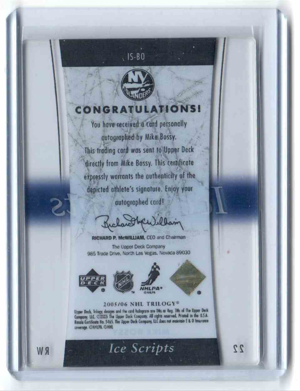 2005-06 Upper Deck Trilogy Ice Scripts Mike Bossy #IS-BO card back image