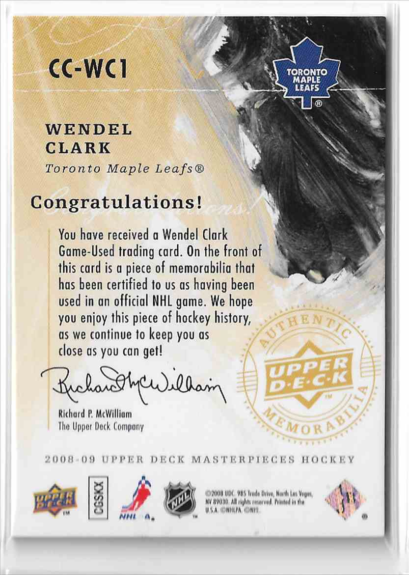 2008-09 Upper Deck Masterpieces Canvas Clippings Wendel Clark #CC-WC1 card back image