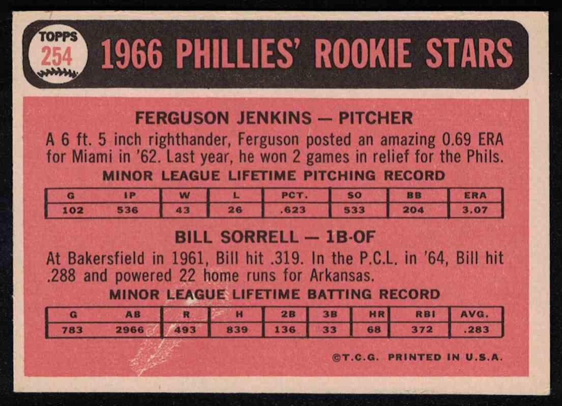 1966 Topps Fergie Jenkins VG crease #254 card back image