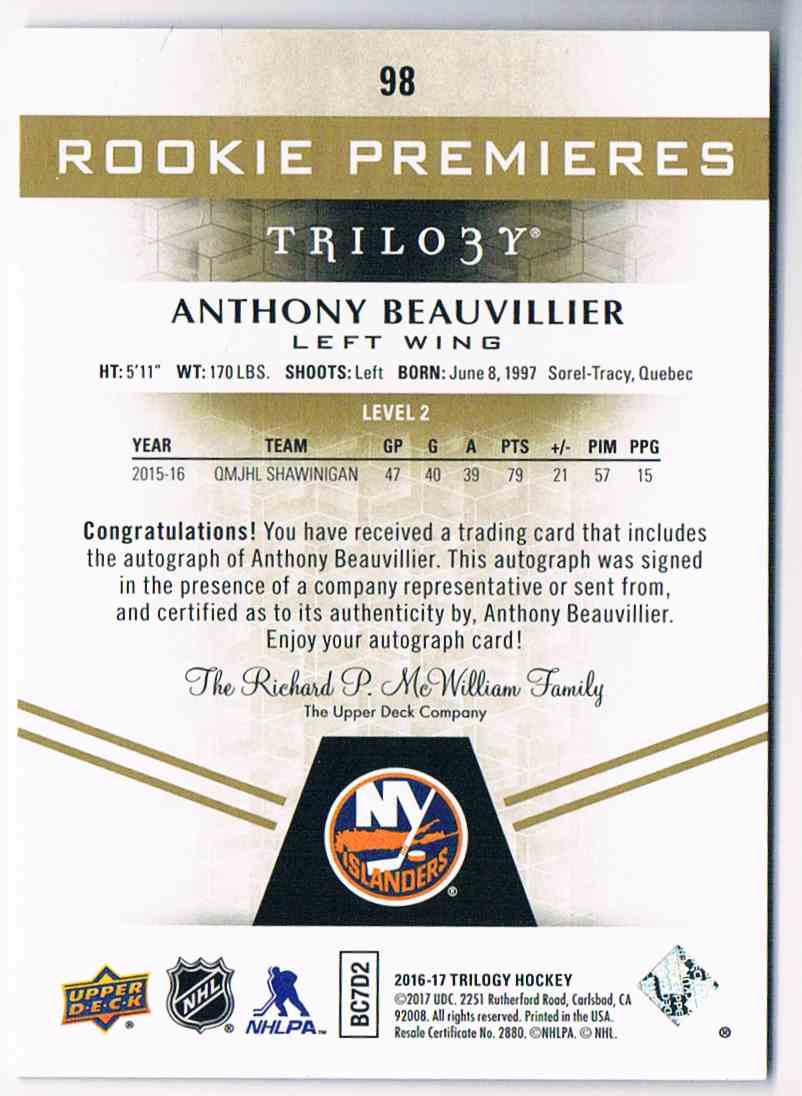 2016-17 Upper Deck Trilogy Anthony Beauvillier #98 card back image