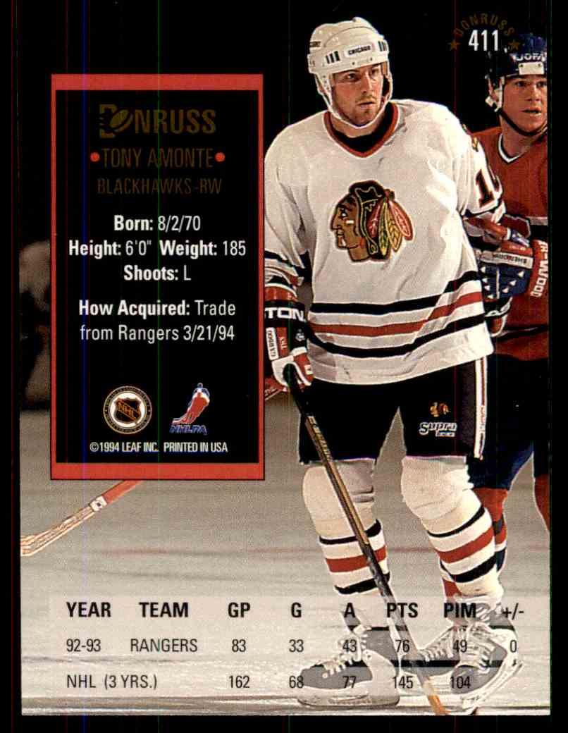 1993-94 Donruss Tony Amonte #411 card back image