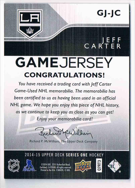 2014-15 Upper Deck Game Jersey Jeff Carter #GJ-JC card back image