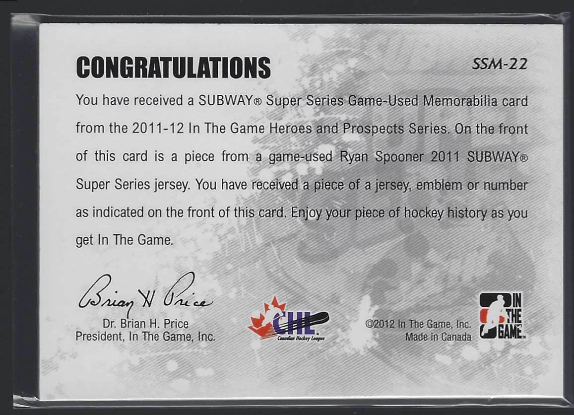 2011-12 ITG Heroes And Prospects Subway Series Numbers Black Flaw In Patch Ryan Spooner #SSM22 card back image