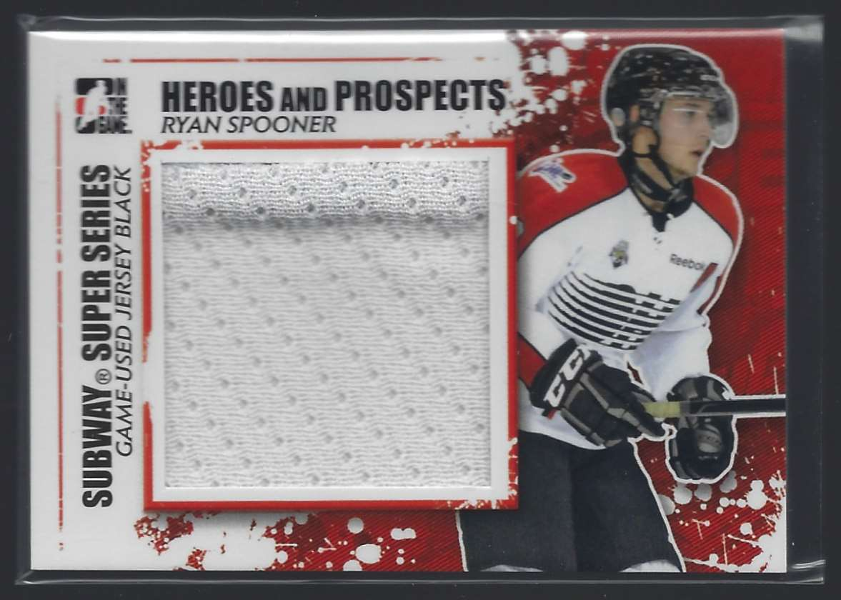 2011-12 ITG Heroes And Prospects Subway Series Numbers Black Flaw In Patch Ryan Spooner #SSM22 card front image
