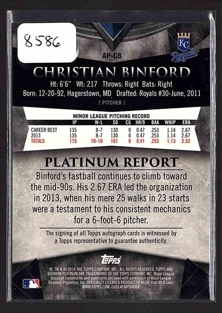 2014 Bowman Platinum Prospect Autographs Christian Binford #AP-CB card back image