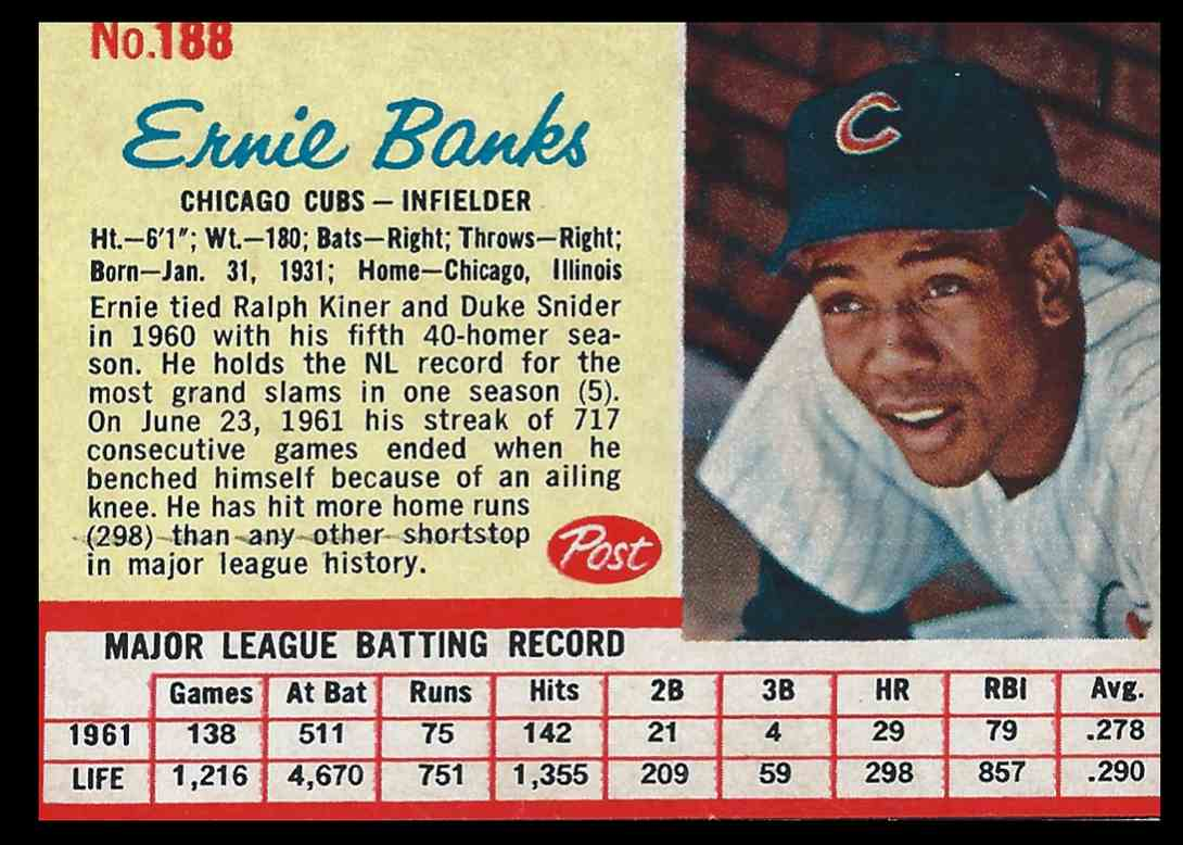 1962 Post Ernie Banks #188 card front image