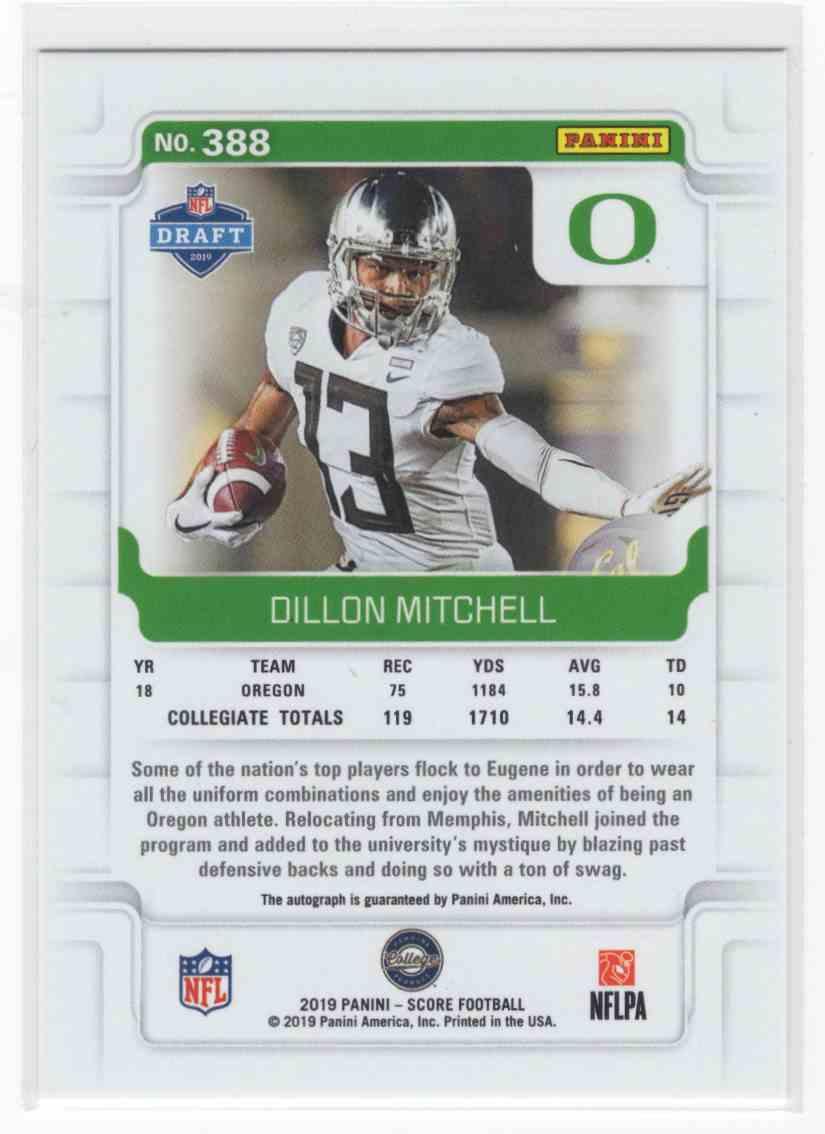2019 Panini Score Dillon Mitchell #388 card back image
