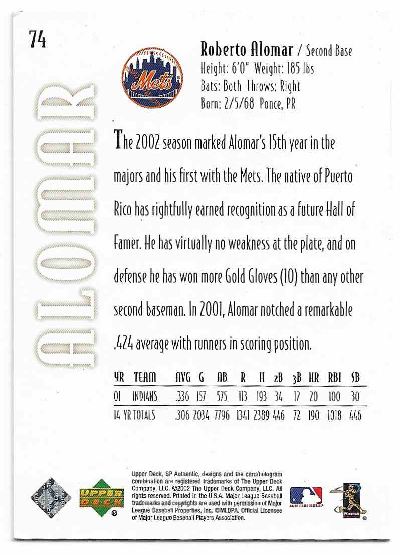 2002 SP Authentic Gold Roberto Alomar #74 card back image