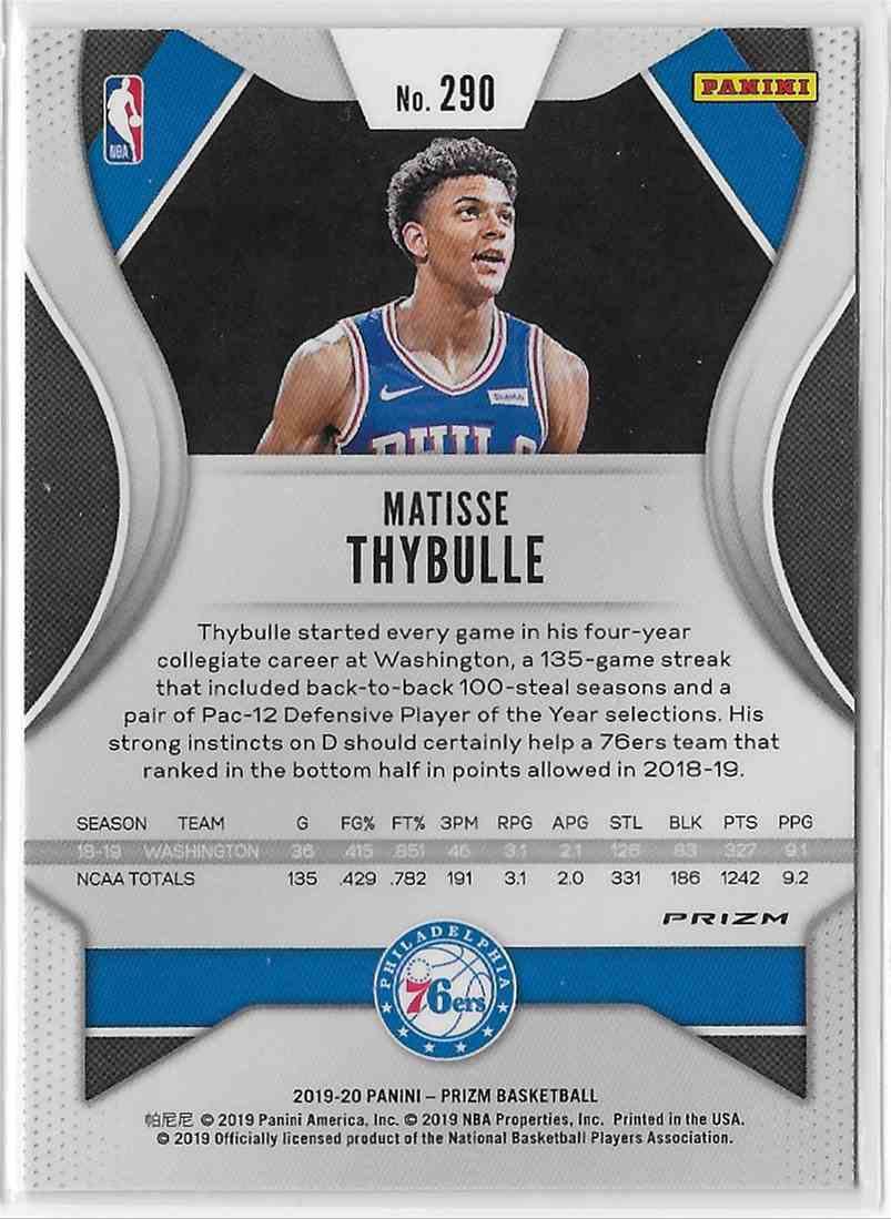 2019-20 Panini Prizm Orange Cracked Ice Prizm Matisse Thybulle #290 card back image