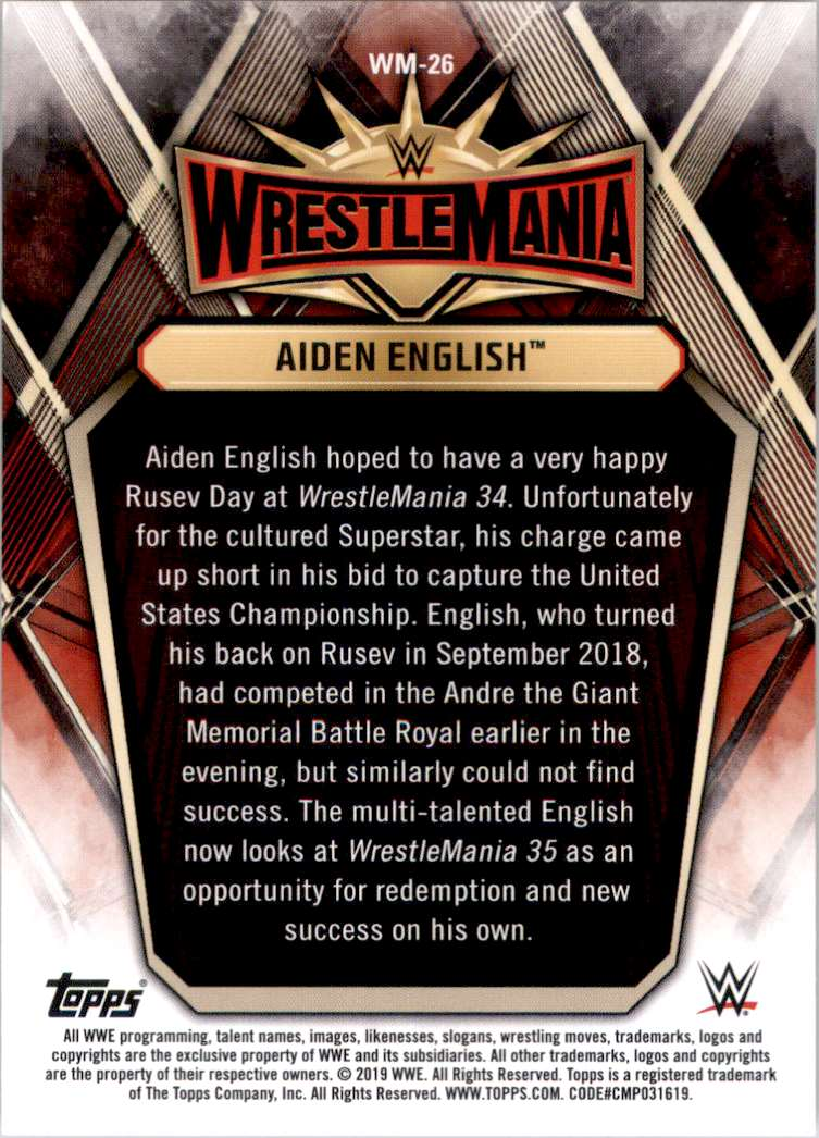 2019 Topps Wwe Road To WrestleMania WrestleMania 35 Roster Aiden English #WM26 card back image