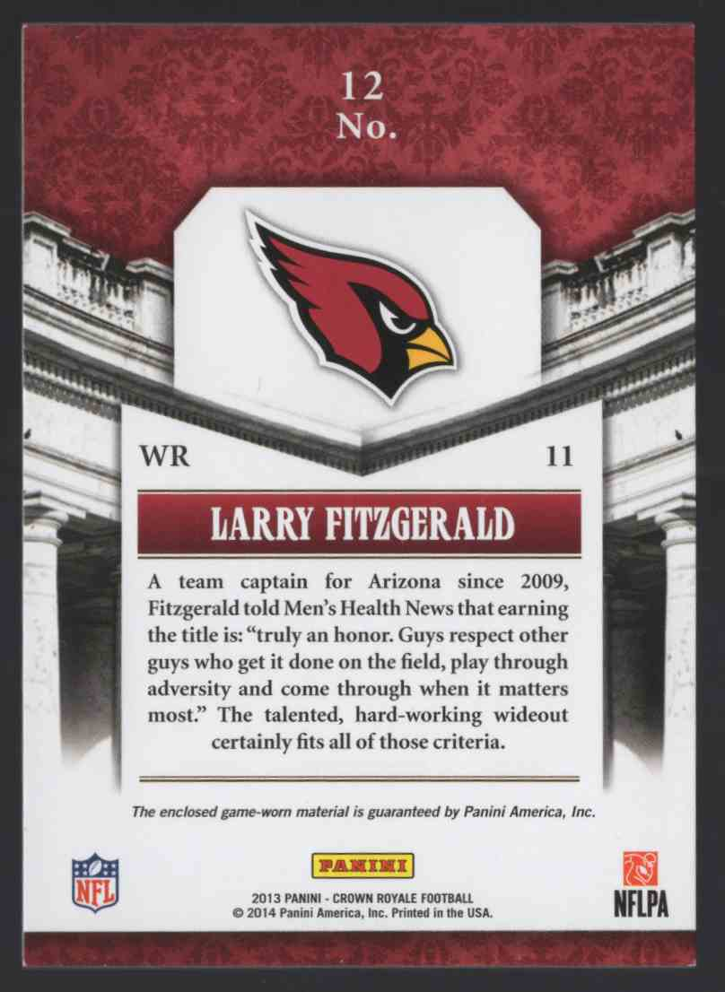 2013 Crown Royale Pillars Of The Game Materials Larry Fitzgerald #12 card back image
