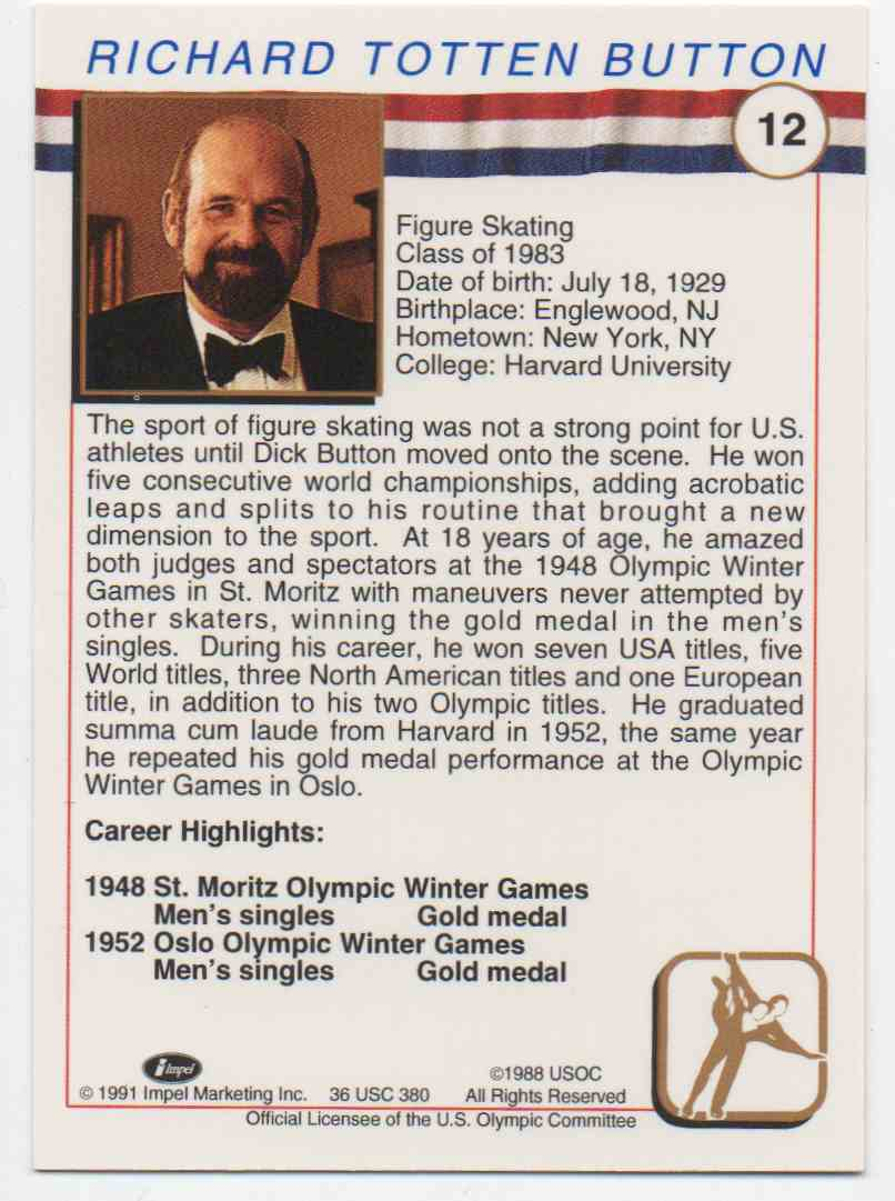 1991 Impel U.S. Olympic Hall Of Fame Dick Button #12 card back image