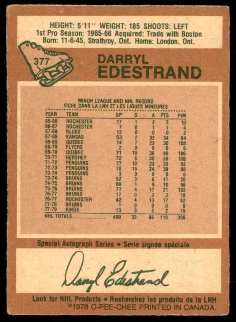 1978-79 O-Pee-Chee Darryl Edestrand #377 card back image