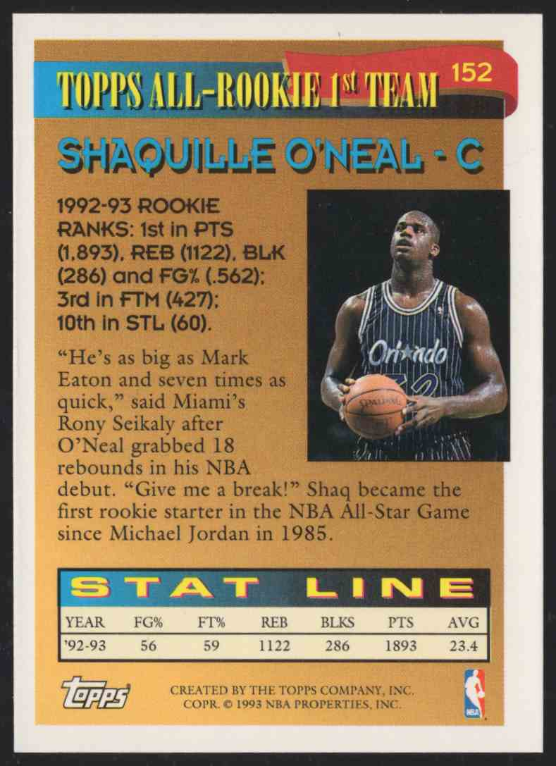 1993-94 Topps Shaquille O'Neal Art #152 card back image