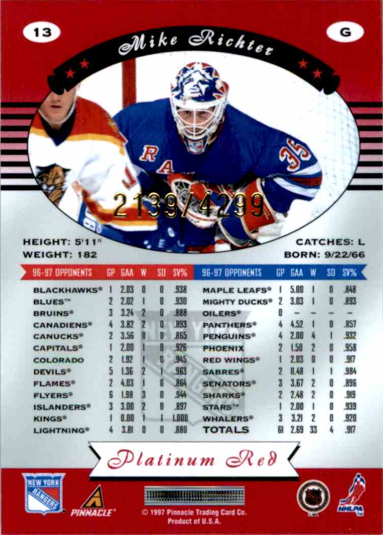 1997-98 Pinnacle Totally Certified Platinum Red Mike Richter #13 card back image