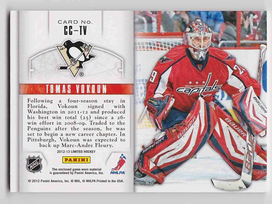 2012-13 Panini Limited Crease Cleaners Tomas Vokoun #CC-TV card back image