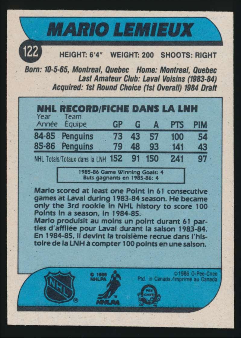 1986-87 OPC Mario Lemieux #122 card back image