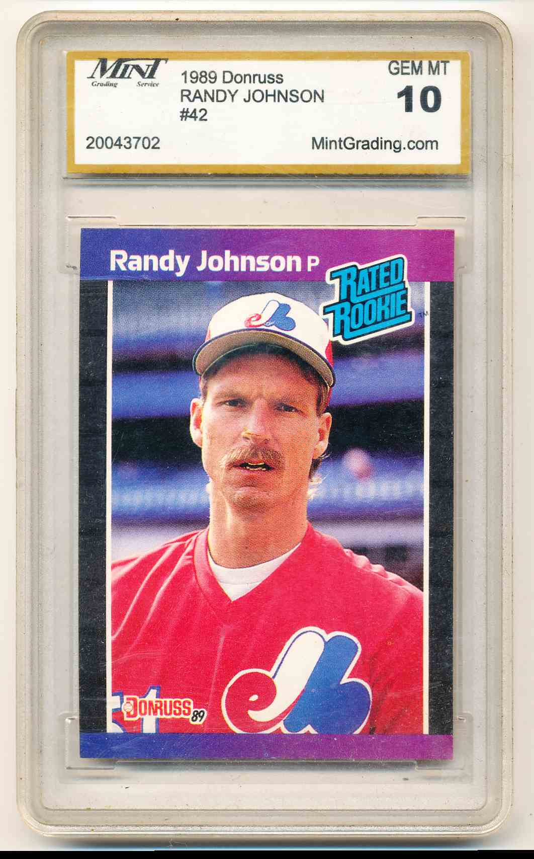1989 Donruss Rated Rookie Randy Johnson 42 On Kronozio